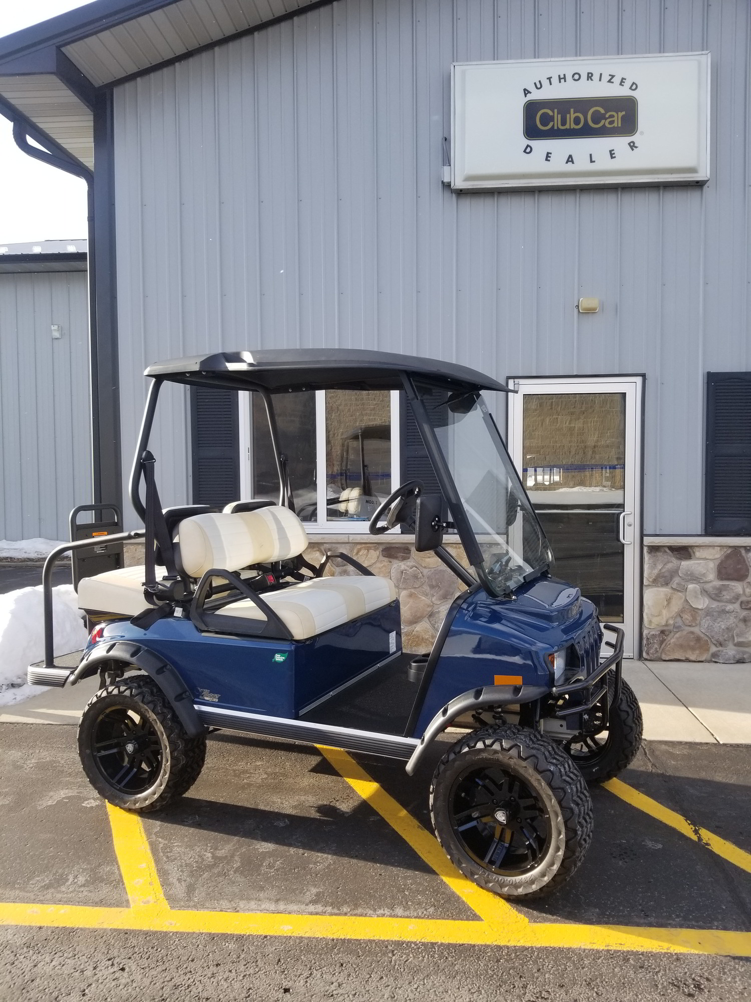 lifted blue LSV 4 passenger cart for sale